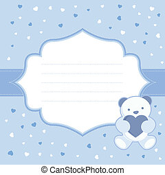 Blue greeting card with teddy bear for baby boy. Baby shower...
