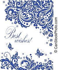 Blue greeting floral banner
