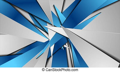 Blue grey abstract glossy polygonal shapes video animation...