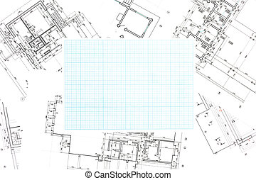 blue grid graph paper with blueprints background