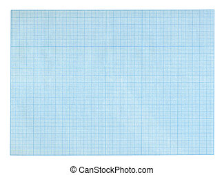 Blue grid scale paper sheet isolated on white background
