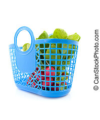 Blue grocery bag filled with fresh radish