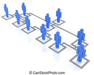 blue group of people standing on the organization chart