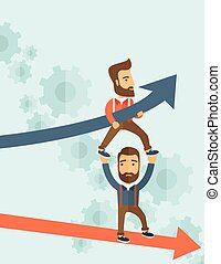 Blue growing successful business graph and businessmen