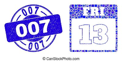Blue Grunge 007 Stamp Seal and 13Th Friday Calendar Page Mosaic
