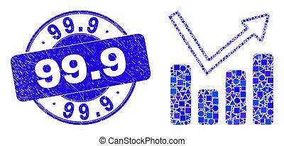 Blue Grunge 99.9 Stamp and Graph Chart Mosaic