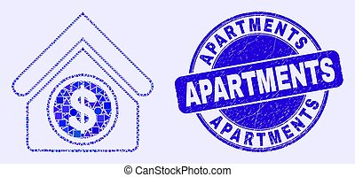 Blue Grunge Apartments Stamp Seal and Commercial Building Mosaic