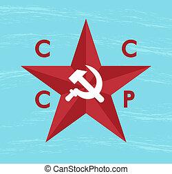 cccp star - blue grunge background with cccp star