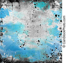 Blue grunge background with stains