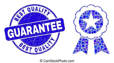 Blue Grunge Best Quality Guarantee Seal and Star Seal Mosaic