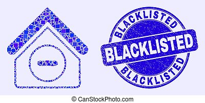 Blue Grunge Blacklisted Seal and Forbidden House Mosaic