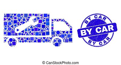 Blue Grunge By Car Stamp and Repair Lorry Mosaic