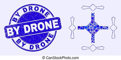 Blue Grunge By Drone Stamp Seal and Quadcopter Mosaic