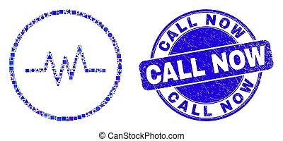 Blue Grunge Call Now Stamp Seal and Pulse Signal Mosaic