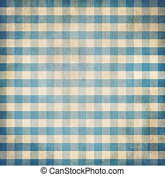 Blue grunge checked gingham picnic tablecloth background