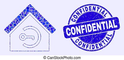 Blue Grunge Confidential Stamp Seal and Home Keyhole Mosaic