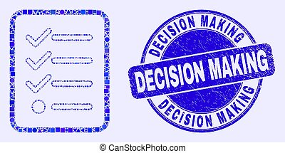 Blue Grunge Decision Making Seal and Items List Page Mosaic