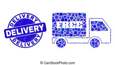 Blue Grunge Delivery Stamp Seal and Free Delivery Mosaic