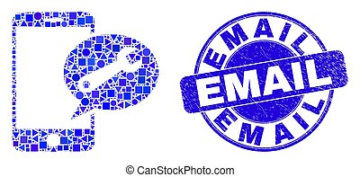 Blue Grunge Email Stamp and Mobile Service Message Mosaic