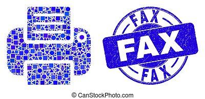 Blue Grunge Fax Stamp Seal and Printer Mosaic