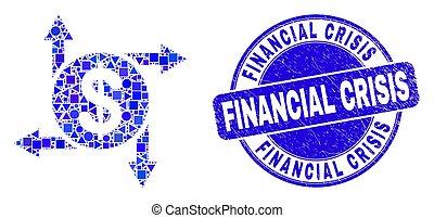 Blue Grunge Financial Crisis Seal and Dollar Emission Mosaic