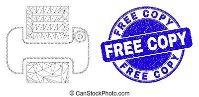 Blue Grunge Free Copy Stamp and Web Mesh Printer