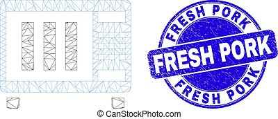Blue Grunge Fresh Pork Stamp and Web Mesh Microwave Oven