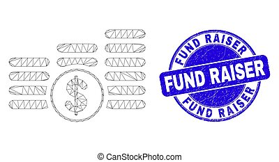 Web carcass dollar coin stacks icon and Fund Raiser seal stamp. Blue vector rounded scratched seal stamp with Fund Raiser title.