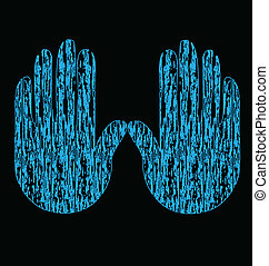 Blue grunge hands vector