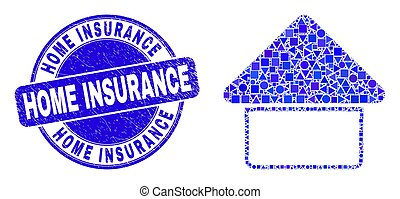 Blue Grunge Home Insurance Seal and Home Mosaic