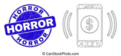 Blue Grunge Horror Stamp and Web Carcass Financial Smartphone Vibration