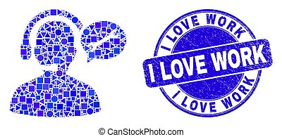 Blue Grunge I Love Work Seal and Service Operator Message Mosaic