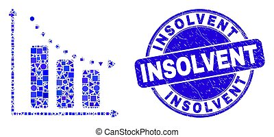 Blue Grunge Insolvent Seal and Recession Bar Chart Mosaic