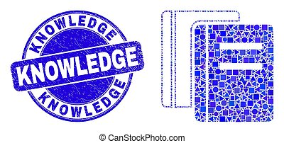 Blue Grunge Knowledge Stamp and Books Mosaic