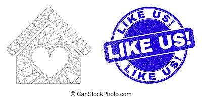 Blue Grunge Like Us! Stamp and Web Mesh Love House - Web ...