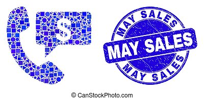 Blue Grunge May Sales Stamp and Financial Phone Message Mosaic