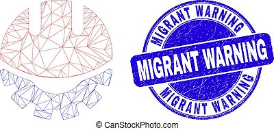 Web mesh development helmet icon and Migrant Warning seal stamp. Blue vector round distress seal stamp with Migrant Warning caption.