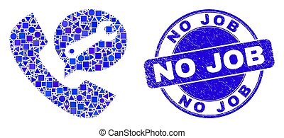 Blue Grunge No Job Stamp and Service Phone Call Mosaic