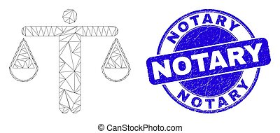 Blue Grunge Notary Seal and Web Mesh Judge - Web carcass ...