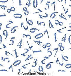 Grunge Numbers Seamless Pattern