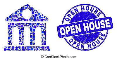 Blue Grunge Open House Stamp Seal and Library Building Mosaic