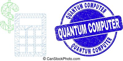 Blue Grunge Quantum Computer Seal and Web Carcass Financial ...