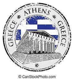 Blue grunge rubber stamp with the Parthenon shape from ...