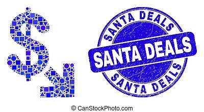 Blue Grunge Santa Deals Stamp Seal and Export Dollar Mosaic