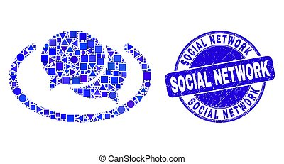 Blue Grunge Social Network Seal and Social Network Messages Mosaic