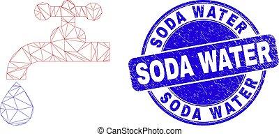 Blue Grunge Soda Water Stamp Seal and Web Mesh Water Plumbing Gear