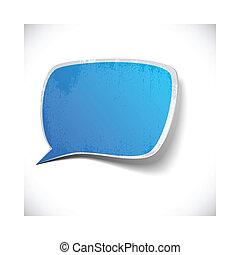 Blue grunge speech label design.