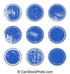 Blue Grunge Stamp Set
