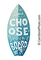 Blue grunge surfboard shape with white hand drawn lettering on it