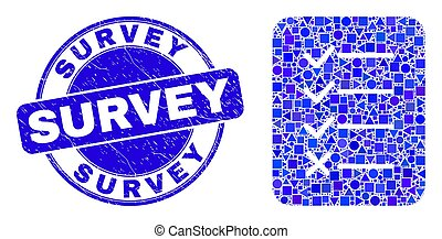 Blue Grunge Survey Stamp and Task List Page Mosaic